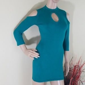 Bebe Blue Grass Bodycon 3/4 Cut Out Sleeve Dress